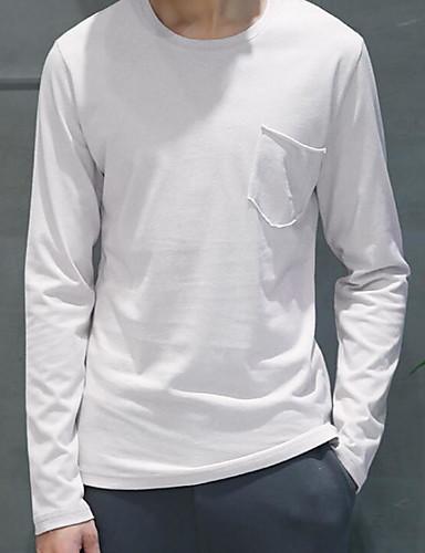 Herrn Solide - Freizeit Baumwolle T-shirt, Rundhalsausschnitt / Langarm