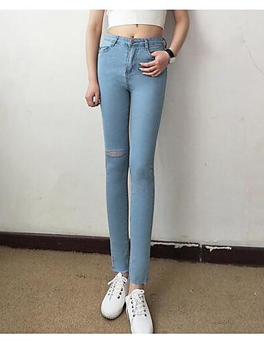 Damen Einfach Mittlere Hüfthöhe strenchy Eng Skinny Hose einfarbig