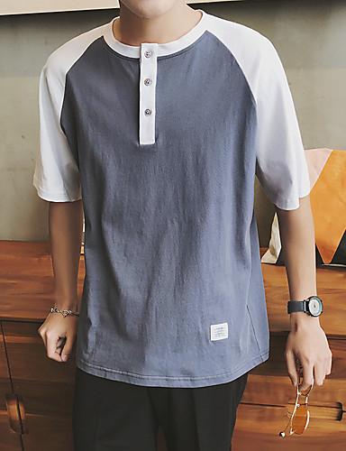 Herren Patchwork Einfach Lässig/Alltäglich T-shirt,Rundhalsausschnitt ½ Länge Ärmel Baumwolle