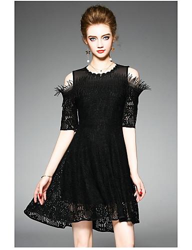 Damen Hülle Kleid-Lässig/Alltäglich Solide Rundhalsausschnitt Übers Knie Polyester Sommer Hohe Hüfthöhe Mikro-elastisch Dünn