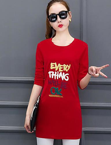 Damen Buchstabe Einfach Lässig/Alltäglich T-shirt,Rundhalsausschnitt Frühling Langarm Baumwolle