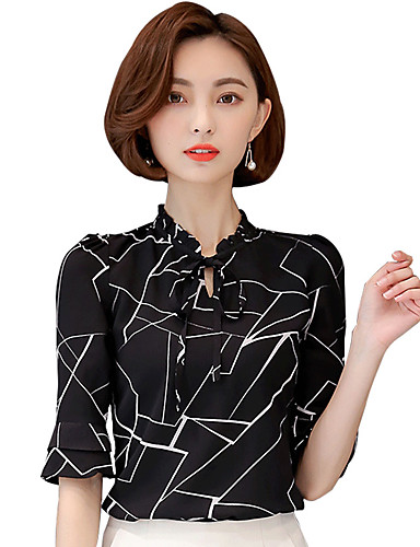 Dámské Geometrický Práce Velké velikosti Jednoduché Halenka-Léto Polyester Spandex Do V Poloviční délka rukávu Tenké