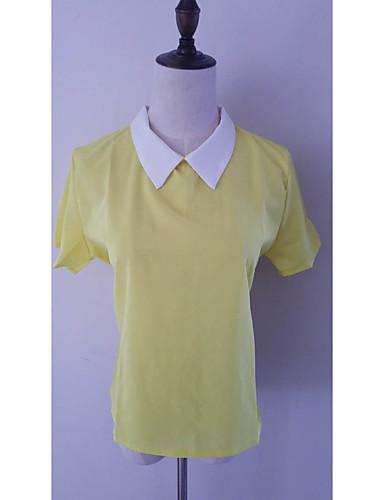 Naiset Lyhythihainen Nelikulmainen kaula-aukko Polyesteri Yksinkertainen Söpö Aktiivinen Rento/arki Työ Pusero,Yhtenäinen Color Block