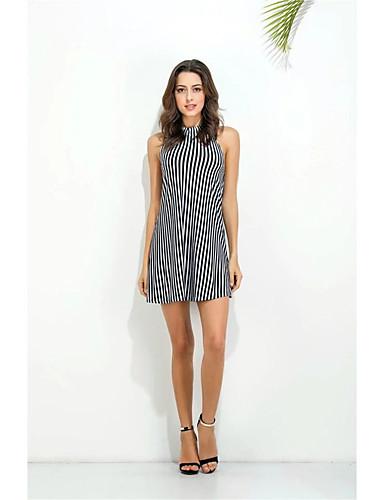 Damen Lose Etuikleid Kleid-Ausgehen Lässig/Alltäglich Einfach Street Schick Gestreift Rundhalsausschnitt Übers Knie Ärmellos Seide