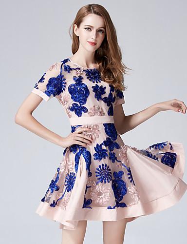 Mulheres Evasê Bainha Vestido - Flor Fashion Bordado, Bordado Moderno