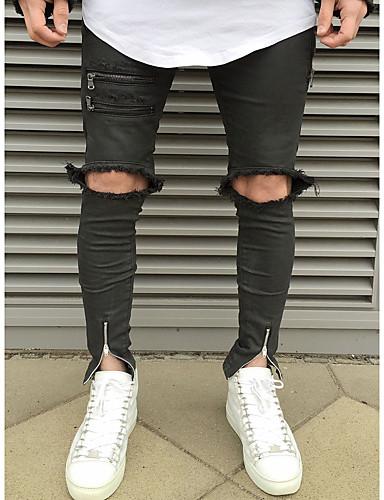 Herren Street Schick Punk & Gothic Mittlere Hüfthöhe Unelastisch Schlank Jeans Hose,Baumwolle Alle Jahreszeiten Ganzjährig Solide