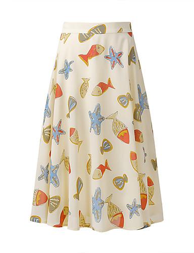 Damen Freizeit Alltag Maxi Röcke Baumwolle / Nylon mit einem Hauch von Stretch Sommer