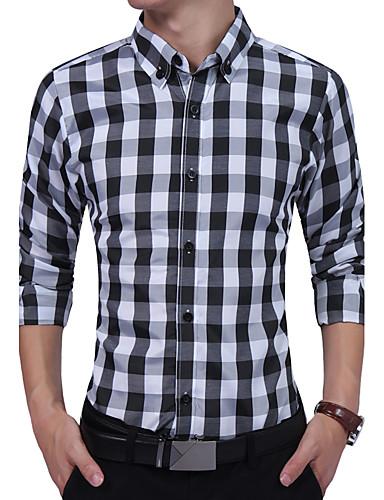Homens Camisa Social Casual Clássico / Fashion, Xadrez Algodão / Poliéster / Misto de Algodão Colarinho Com Botões / Manga Longa