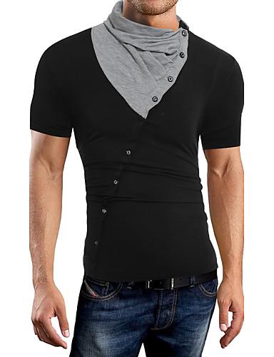 Homens Camiseta Sólido Algodão Decote V