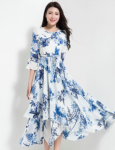 Damen Chiffon Swing Kleid-Ausgehen Lässig/Alltäglich Retro Boho Blumen Rundhalsausschnitt Maxi Halbe Ärmel Polyester ChiffonFrühling