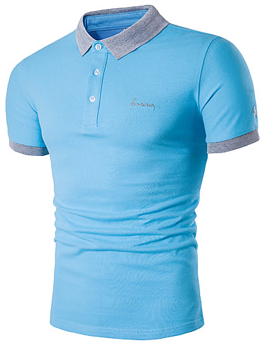 cheap Men's Polos-Men's Daily Weekend Active Plus Size Cotton Slim Polo - Solid Colored Shirt Collar Navy Blue XXXL / Short Sleeve / Summer