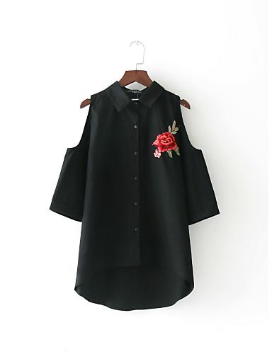 Damen Druck Einfach Sexy Street Schick Hemd,Hemdkragen Sommer Kurzarm Baumwolle Dünn Mittel