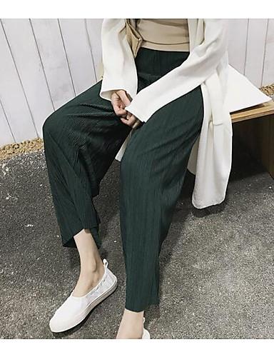 Dámské Jednoduchý strenchy Široké nohavice Kalhoty chinos Kalhoty Široké nohavice Mid Rise Jednobarevné