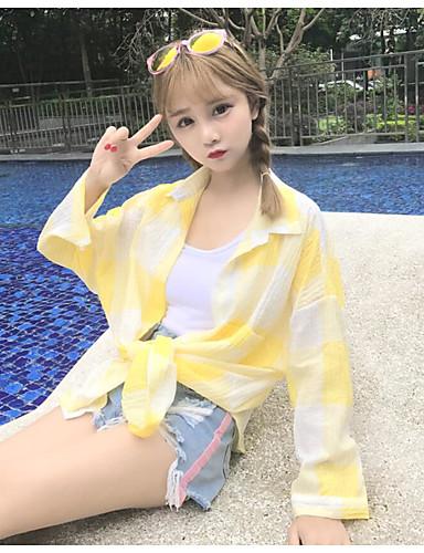 Dámské Pléd Plážové Jednoduché Košile-Léto Bavlna Košilový límec Dlouhý rukáv