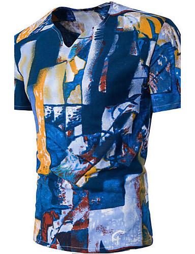 Herrn Druck Einfach Aktiv Sport Lässig/Alltäglich T-shirt, V-Ausschnitt Sommer Kurzarm Baumwolle