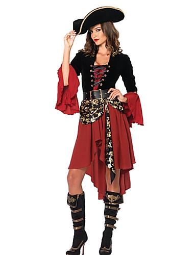 billige Film & TV-kostymer-Pirat Cosplay Kostumer Party-kostyme Dame Flere Uniformer Jul Halloween Karneval Festival / høytid Spandex polyester Svart / Rød Karneval Kostumer Lapper
