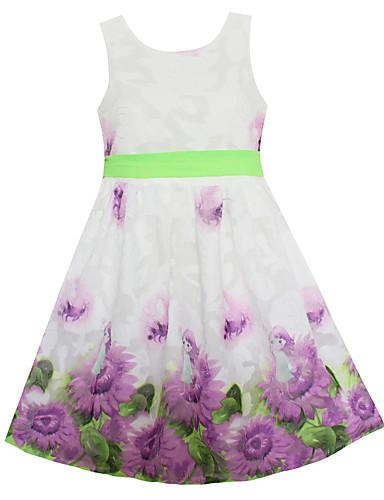 Mädchen Kleid Blumen Baumwolle Polyester Frühling Sommer Ärmellos