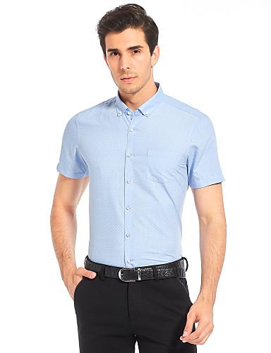 Herren Solide Geometrisch Einfach Lässig/Alltäglich Arbeit Übergröße Hemd,Hemdkragen Sommer Kurzarm Baumwolle Kunstseide Dünn