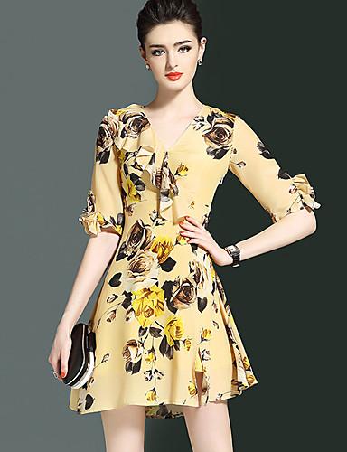 Damen A-Linie Kleid-Ausgehen Street Schick Blumen V-Ausschnitt Übers Knie ½ Länge Ärmel Nylon Sommer Mittlere Hüfthöhe Mikro-elastisch