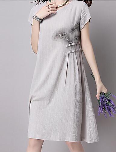 Damen Hülle Kleid-Lässig/Alltäglich Einfach Solide Rundhalsausschnitt Knielang Kurzarm Baumwolle Frühling Sommer Hohe Hüfthöhe