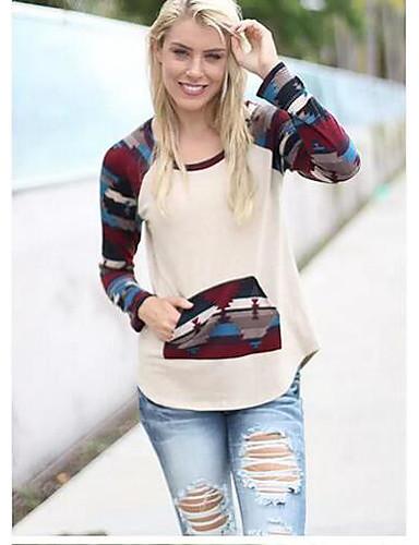 Damen Patchwork Einfach Lässig/Alltäglich T-shirt,Rundhalsausschnitt Frühling Winter Langarm Bambusfaser