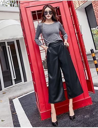 Dámské Na běžné nošení Široké nohavice Provozovna Kalhoty chinos Kalhoty Jednobarevné High Rise