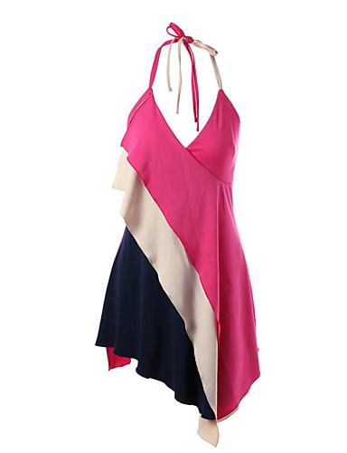 Mulheres Chifon Vestido - Camadas, Estampa Colorida Nadador