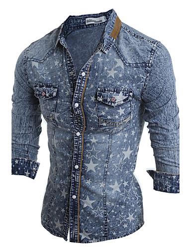 Homens Camisa Social - Bandagem Vintage Boho Clássico Fashion Estampado Flash, Design Especial Moderno Ganga