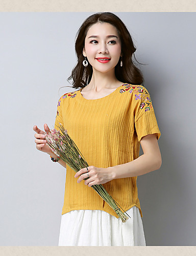 Damen Solide Einfach Übergröße T-shirt,Rundhalsausschnitt Kurzarm Baumwolle