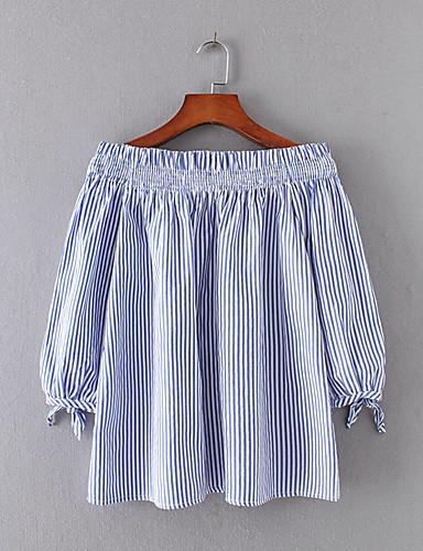 Damen Gestreift Sexy Einfach Street Schick Ausgehen Lässig/Alltäglich T-shirt,Bateau Sommer Langarm Baumwolle Dünn Mittel