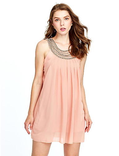8122bd67a377 Women s Daily Going out Street chic Mini Loose Chiffon Dress - Solid  Colored Beaded Pleated Summer Black Beige Pink L XL XXL