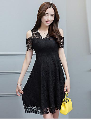 Damen Hülle Spitze Kleid-Ausgehen Street Schick Solide Schulterfrei Übers Knie Kurzarm Polyester Sommer Mittlere Hüfthöhe Mikro-elastisch