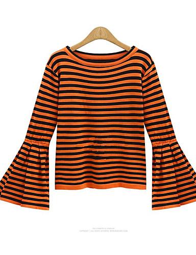 Damen Gestreift T-shirt Baumwolle