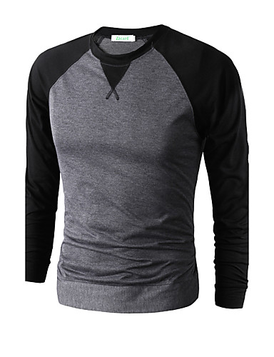 Men's Sports Punk & Gothic Cotton Slim T-shirt - Solid Colored / Color Block Criss-Cross Round Neck / Long Sleeve
