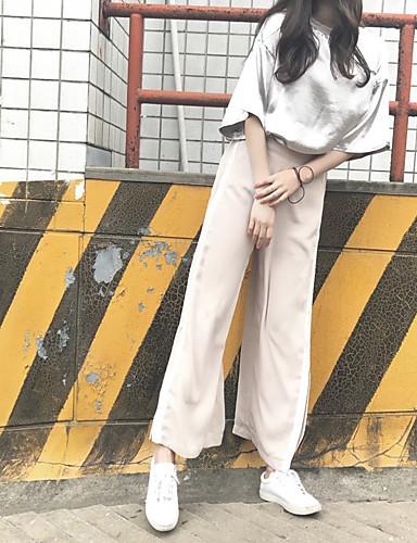 Dámské Jednoduchý Mikro elastické Tepláky Kalhoty Široké nohavice High Rise Jednobarevné