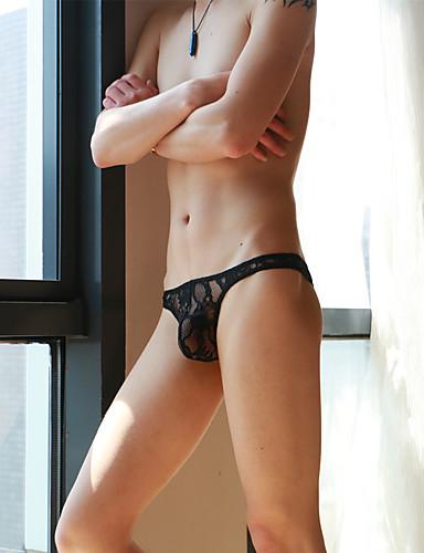 Homens Super Sexy G-string Underwear - Renda / Com Transparência, Sólido Cintura Baixa