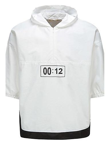 Pánské Barevné bloky Běžné/Denní Velké velikosti Jednoduché Tričko-Léto Bavlna Polyester Kapuce Poloviční délka rukávu Neprůhledné