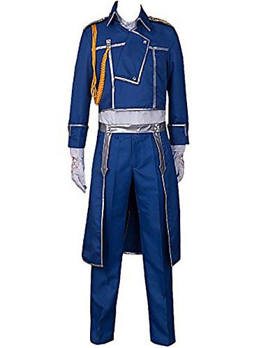 """billige Anime Kostymer-Inspirert av Helmetall Alkemist Roy Mustang Anime  """"Cosplay-kostymer"""" Cosplay Klær Ensfarget Frakk / Bukser / Halstørklæ Til Herre"""