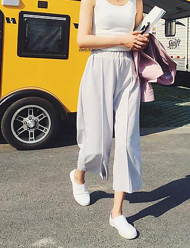 Damen Einfach Mittlere Hüfthöhe Chinos Breites Bein Hose