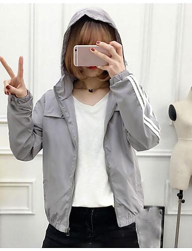 Damen Solide Einfach Lässig/Alltäglich Jacke,Mit Kapuze Frühling Herbst Lange Ärmel Standard Polyester
