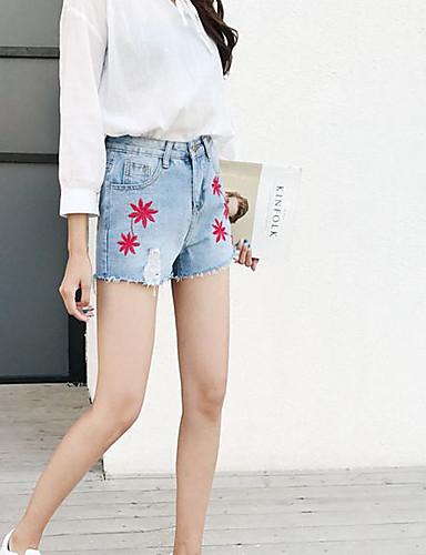Dámské Sexy Jednoduchý Mikro elastické Kalhoty chinos Kraťasy Kalhoty Volný Štíhlý Low Rise Čistá barva Džínovina Jednobarevné