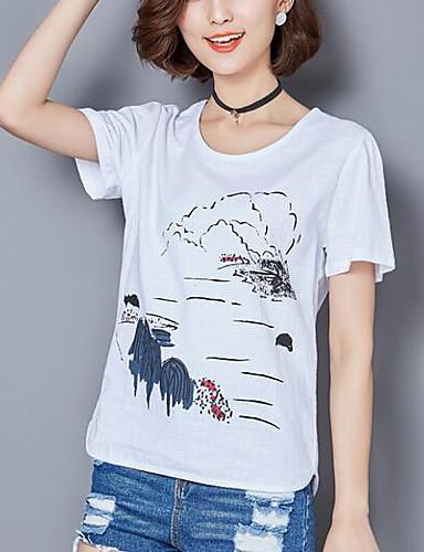 Damen Druck Einfach Lässig/Alltäglich T-shirt,Rundhalsausschnitt Sommer Kurzarm Baumwolle Dünn