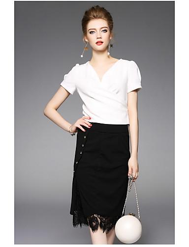 Damen Solide Moderne Alltag Bluse Rock Anzüge,V-Ausschnitt Sommer Kurze Ärmel
