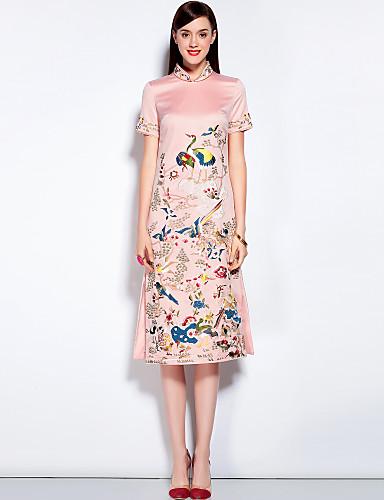 Dámské Vintage Šik ven Čínské vzory Jdeme ven Běžné/Denní Dovolená A Line Šaty Květinový Výšivka,Krátký rukáv Stojáček MidiBavlna