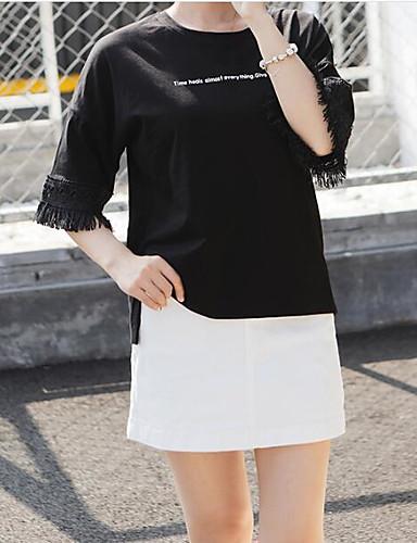 Damen Solide Buchstabe Sexy Ausgehen T-shirt,Rundhalsausschnitt ½ Länge Ärmel Seide Baumwolle