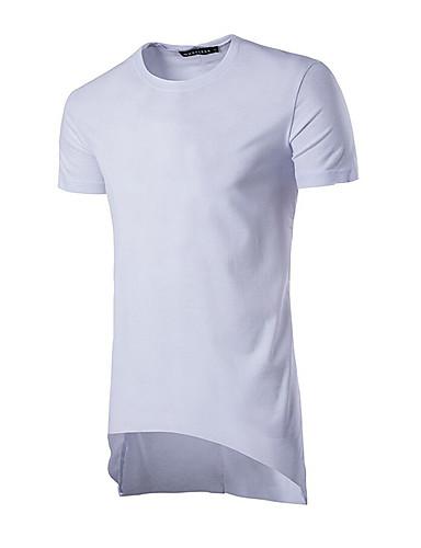 Homens Camiseta Moda de Rua Sólido Decote Redondo / Manga Curta / Longo
