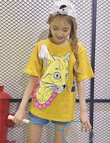 Damen Druck Tierfell-Druck Einfach Niedlich Lässig/Alltäglich T-shirt,Rundhalsausschnitt Kurzarm Baumwolle