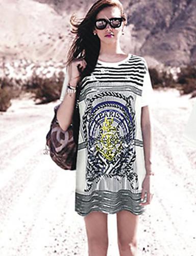 Damen Gestreift - Freizeit Baumwolle T-shirt / Frühling / Sommer