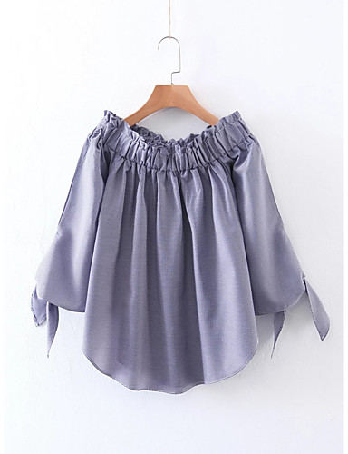 Damen Solide Einfach Sexy Street Schick Ausgehen Lässig/Alltäglich Bluse,Bateau Sommer Baumwolle Dünn Mittel