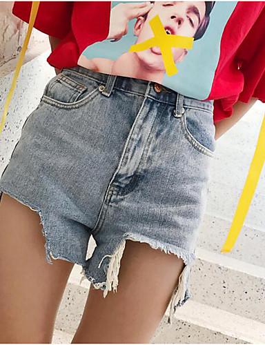 Damen Street Schick Mittlere Hüfthöhe Mikro-elastisch Jeans Kurze Hosen Breites Bein Hose einfarbig